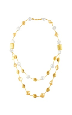 Gold double tier pearl necklace