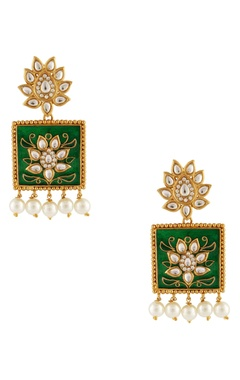 green & white meenakari earrings