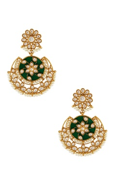 gold plated pearl chaandbali earrings