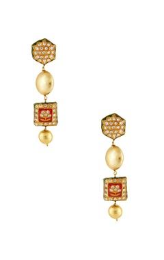 Red meenakari dangling earrings