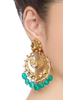 Green & white kundan jali earrings