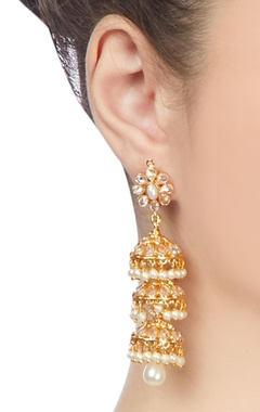 Gold plated three-tier jhumka earrings