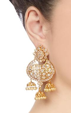 Gold & white jhumka earrings