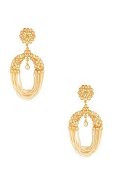 Gold & white jhalar earrings