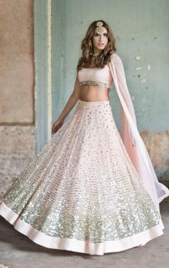 Prathyusha Garimella Blush pink embellished glitter lehenga  set