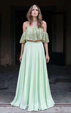 mint green lehenga & blouse