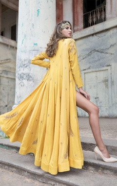 mustard yellow lehenga with blouse & jacket