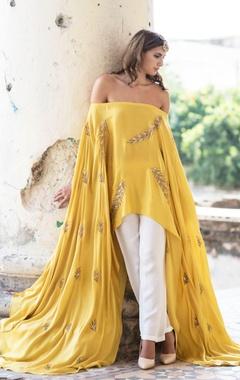 Mustard yellow cape & palazzo