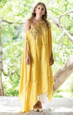 Mustard yellow drop shoulder cape with palazzo