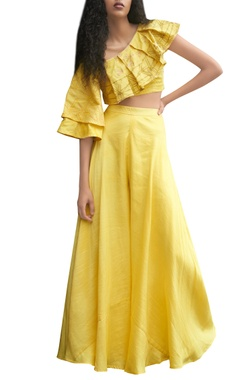 Yellow skirt and top with block print