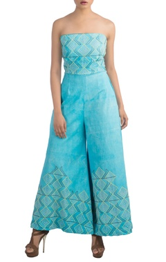 Blue jumpsuit with hand embroidery