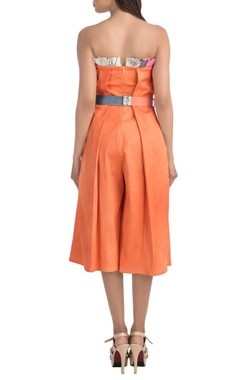 Orange 3/4th jumpsuit with pleated details