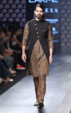 Black Nehru jacket with gold buttons