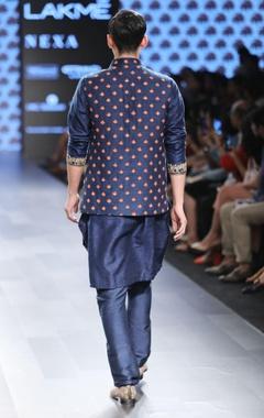 Blue embroidered Nehru jacket
