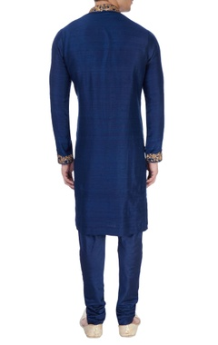 Royal blue gold embroidered kurta