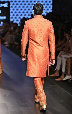saffron orange embellished sherwani