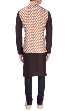 white small tree print nehru jacket