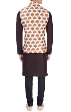 White tree print nehru jacket