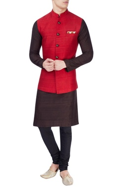 Red bird print nehru jacket