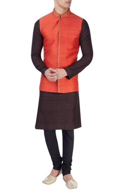 Red embroidered nehru jacket