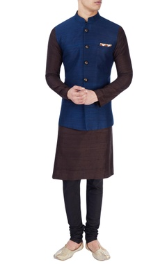 blue nehru jacket with over sized buttons
