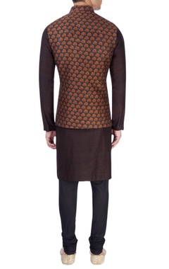 Black nehru jacket with saffron print