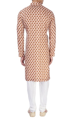White tree print kurta & churidar pants