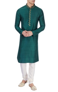 Green raw silk kurta & churidar
