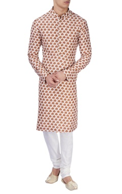 white tree print kurta set
