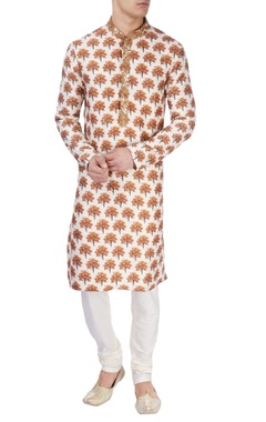 white tree printed kurta set
