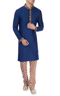 royal blue gold aari work kurta