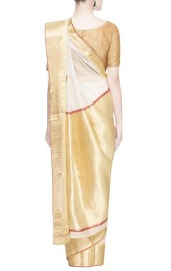 White & gold zari embroidered sari