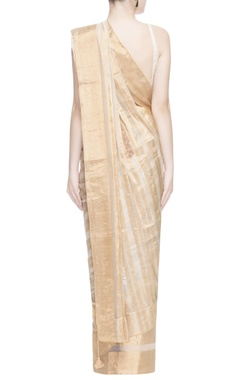 White & gold stripe print sari