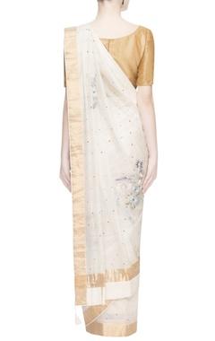 White thread embroidered sari