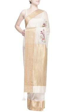 White dabka embroidered sari