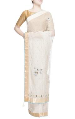 White thread work embroidered sari
