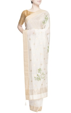 White polka dot embroidered sari
