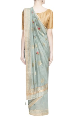 Blue floral embroidered sari
