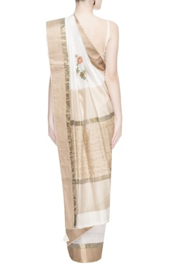 White & gold floral embroidered sari