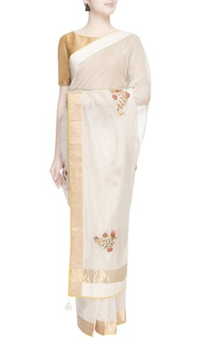 White & gold thread embroidered sari