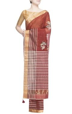 Maroon thread embroidered sari