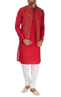 Red kurta set with embroidered waistcoat