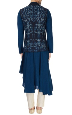 teal blue kurta set with waistcoat