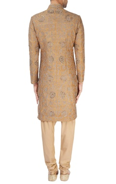 Gold sherwani with kurta & churidar