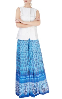 Blue printed palazzo trousers