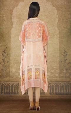 Peach printed kaftan dress