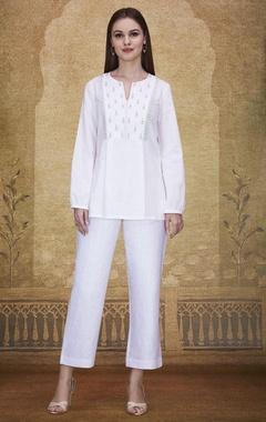 White kurta with embroidery
