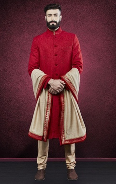 Red embroidered sherwani with stole
