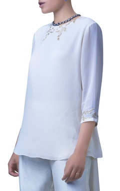 ivory high-low embroidered top and pants