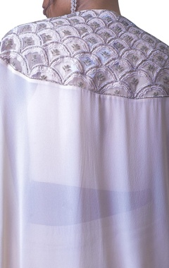 blush pink embroidered cape